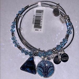 Alex and Ani Blue Lotus Bracelet Set